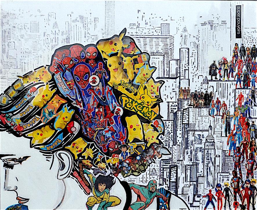 Anonyme héroine - collage - marqueur - acrylique - encadré - 80x60 - 450€