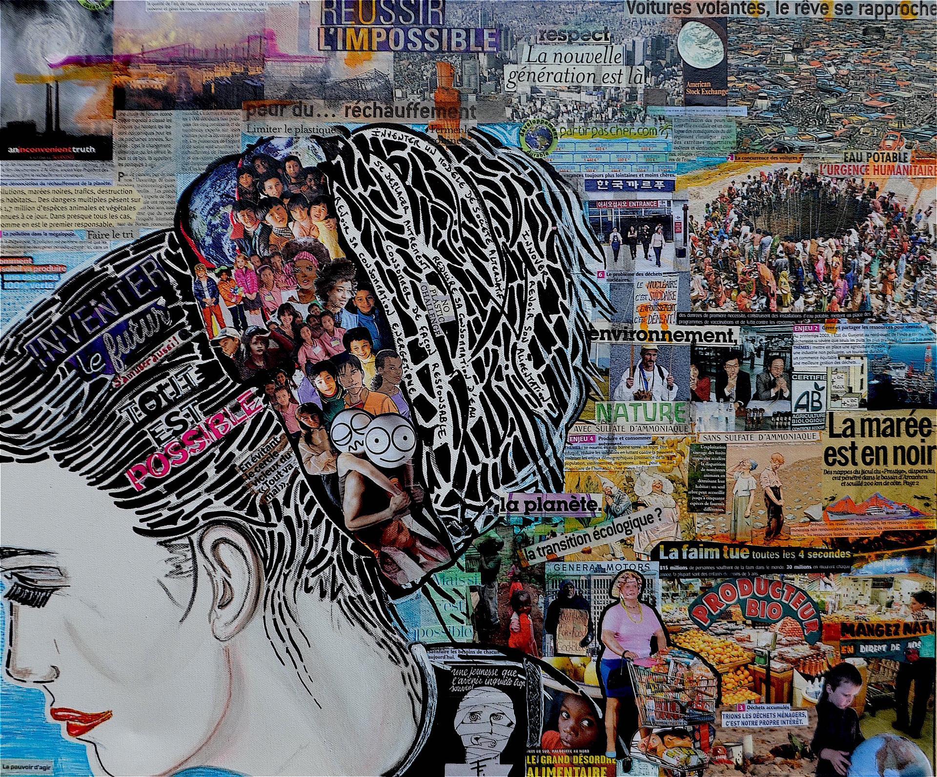NO FUTURE - Collage - marqueur - posca - 60x80 - 450 €