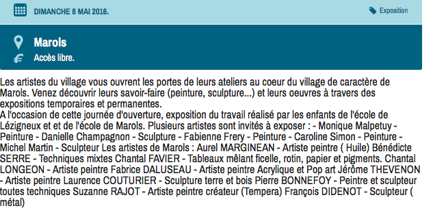 Exposition village d'artistes à Marols