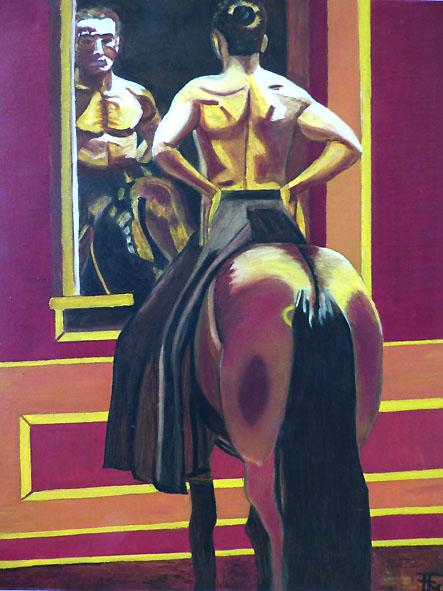 cavalier ou centaure - huile sur toile - 46x55 - 180 €