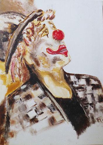 Clown - pigments sur toile - 30x40 - 80 €