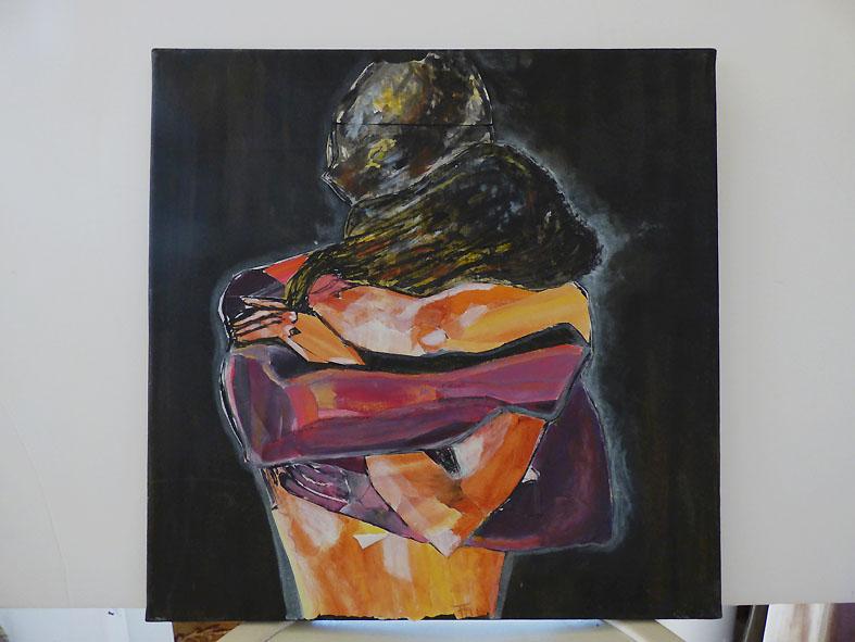 Serre-moi - technique mixte, collage sur toile -40x40 - 120 €