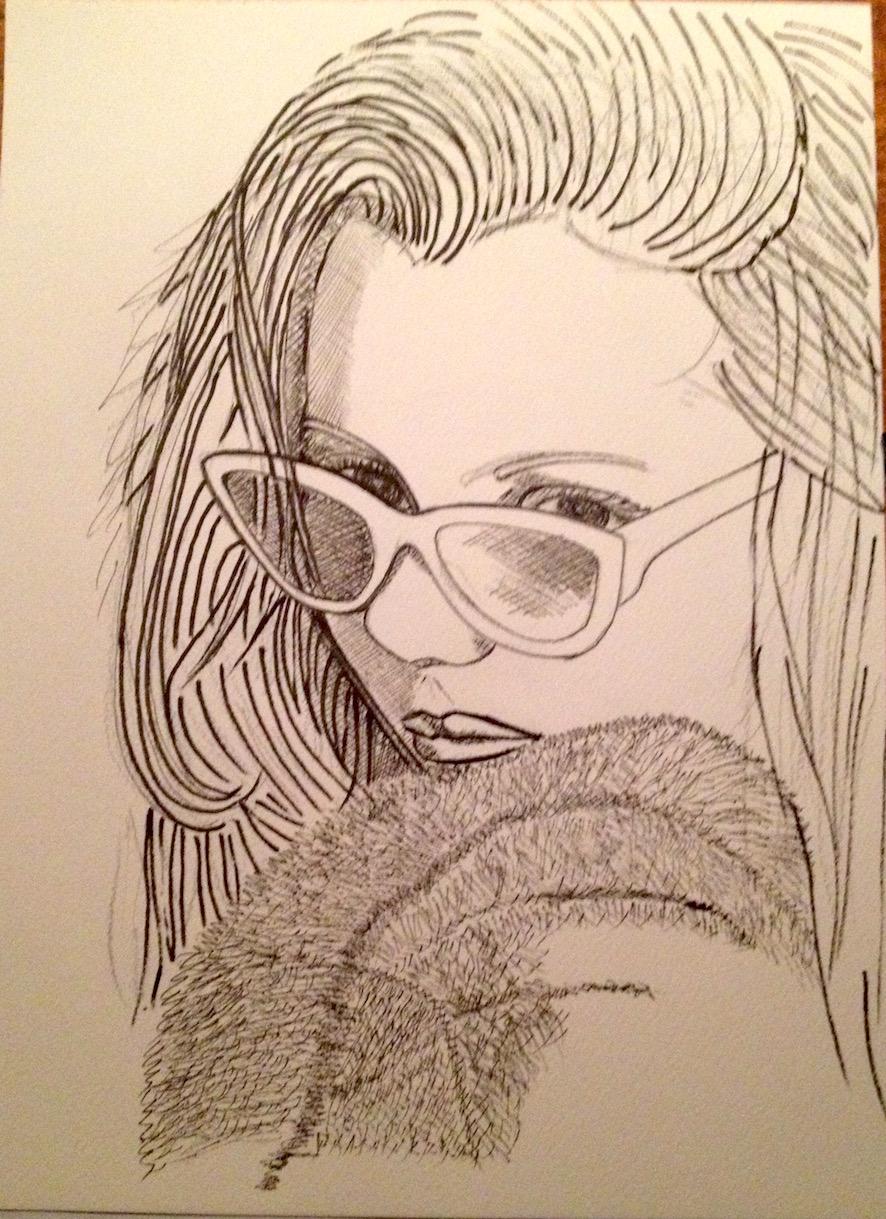 Julie - Etude - Feutres encre de chine - sur papier d'arches - 23x31