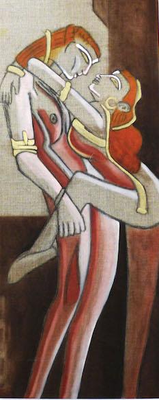 Etreinte - pigments sur toile de lin - 30x80 - 150€
