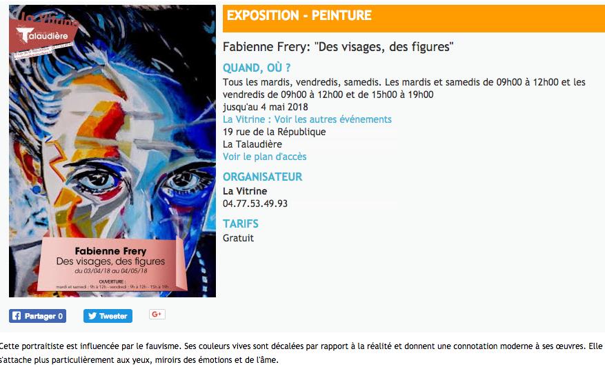 """Exposition galerie """"la vitrine"""" à La Talaudière - Loire - 2018"""