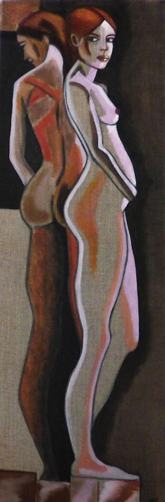 Féminité - pigments sur toile de lin - 30x80 - 150€- VENDU
