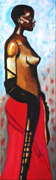 Femme au boa -  huile sur toile - 75x25 - 150€