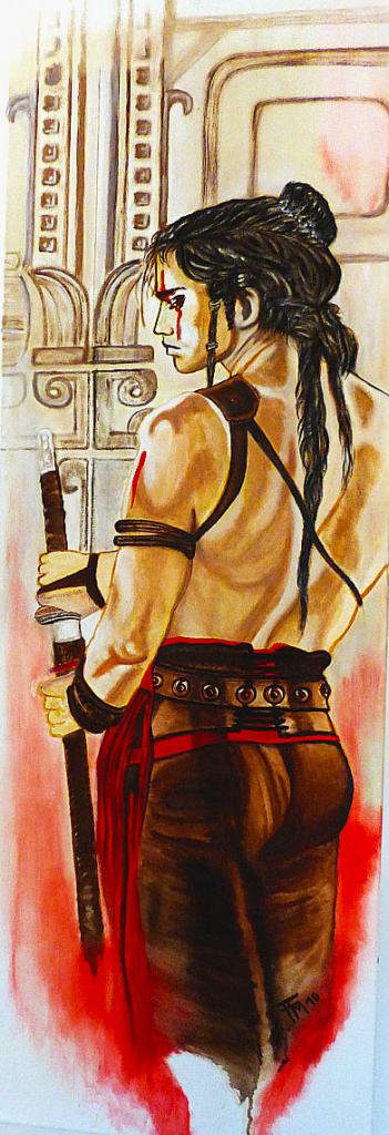 hommage à Luis Royo, huile sur toile, 120x40, collection perso