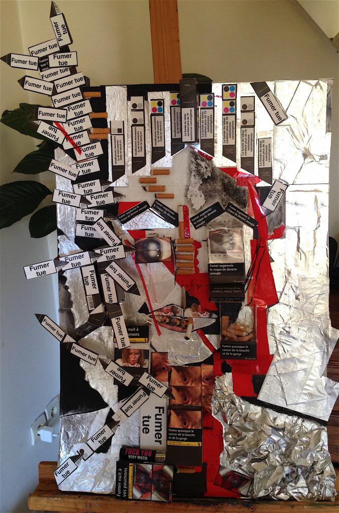 La mort en boîte - 43x65 - collage sur carton - 400 €
