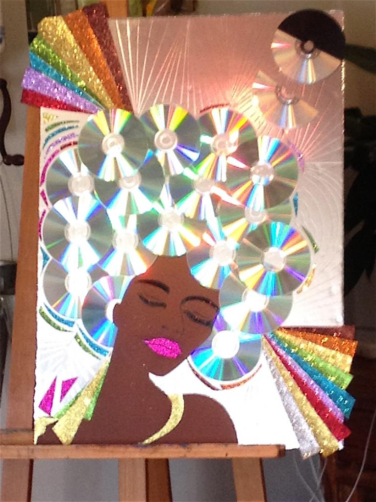 En cours de réalisation -Collage CD et papier sur carton plume - 50x70