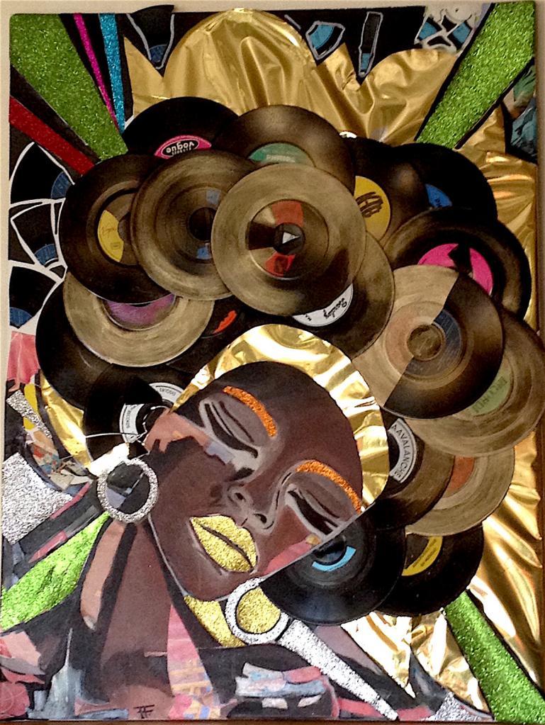 Donna -- Huile, collage papier et vinyles sur toile - 80x60 - 400 € - VENDU