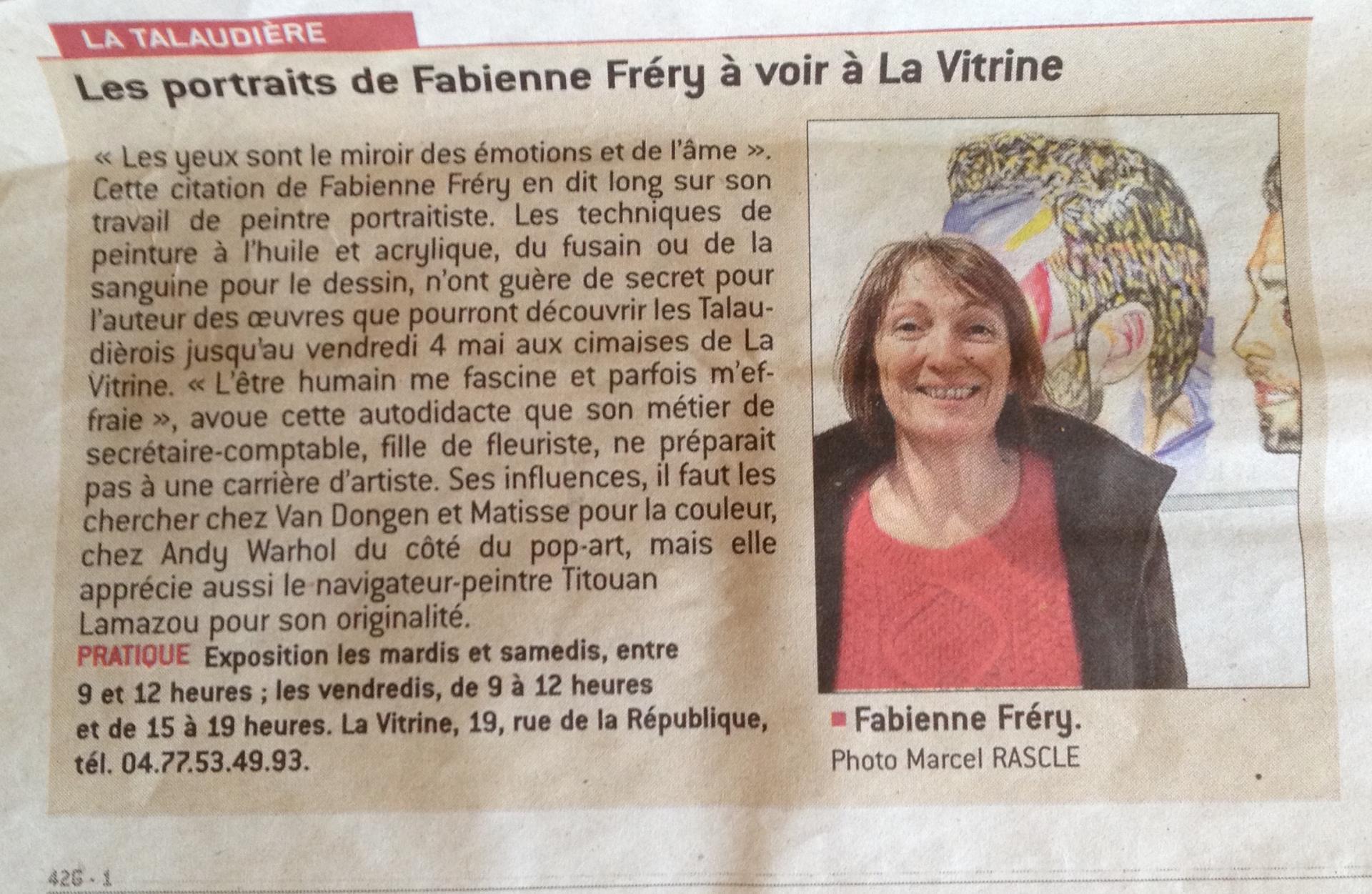"""Article de presse dans La Tribune Le Progrès Expo """"la Vitrine"""" à La Talaudière"""