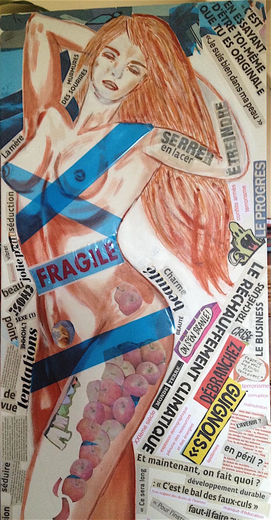 Fragile - collage et acrylique sur toile - 120x40 - 250 €