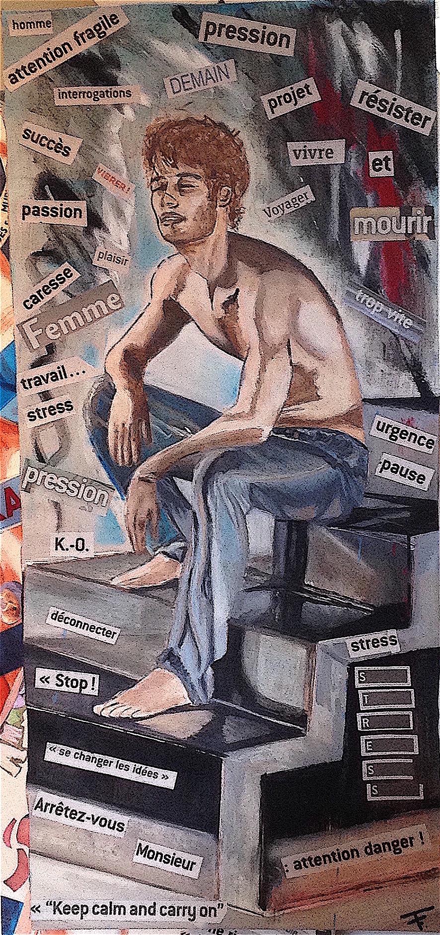 La pause - collage, huile et acrylique sur toile - 34x75 - 150 €