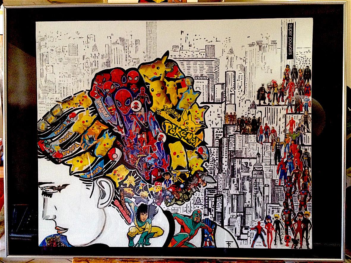 Anonyme héroine - collage - marqueur - acrylique -  encadré - 80x60 - 450€ -