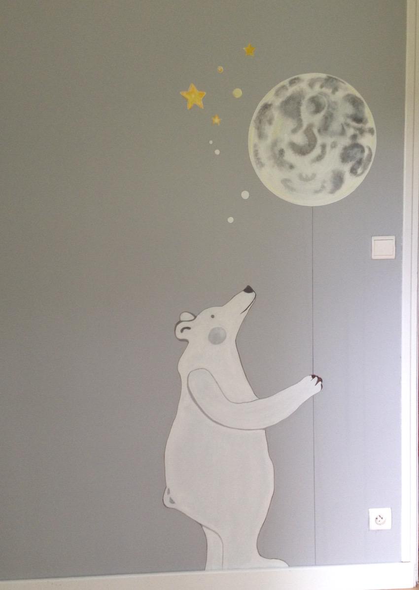 ours polaire - peinture acrylique - chambre d'enfant