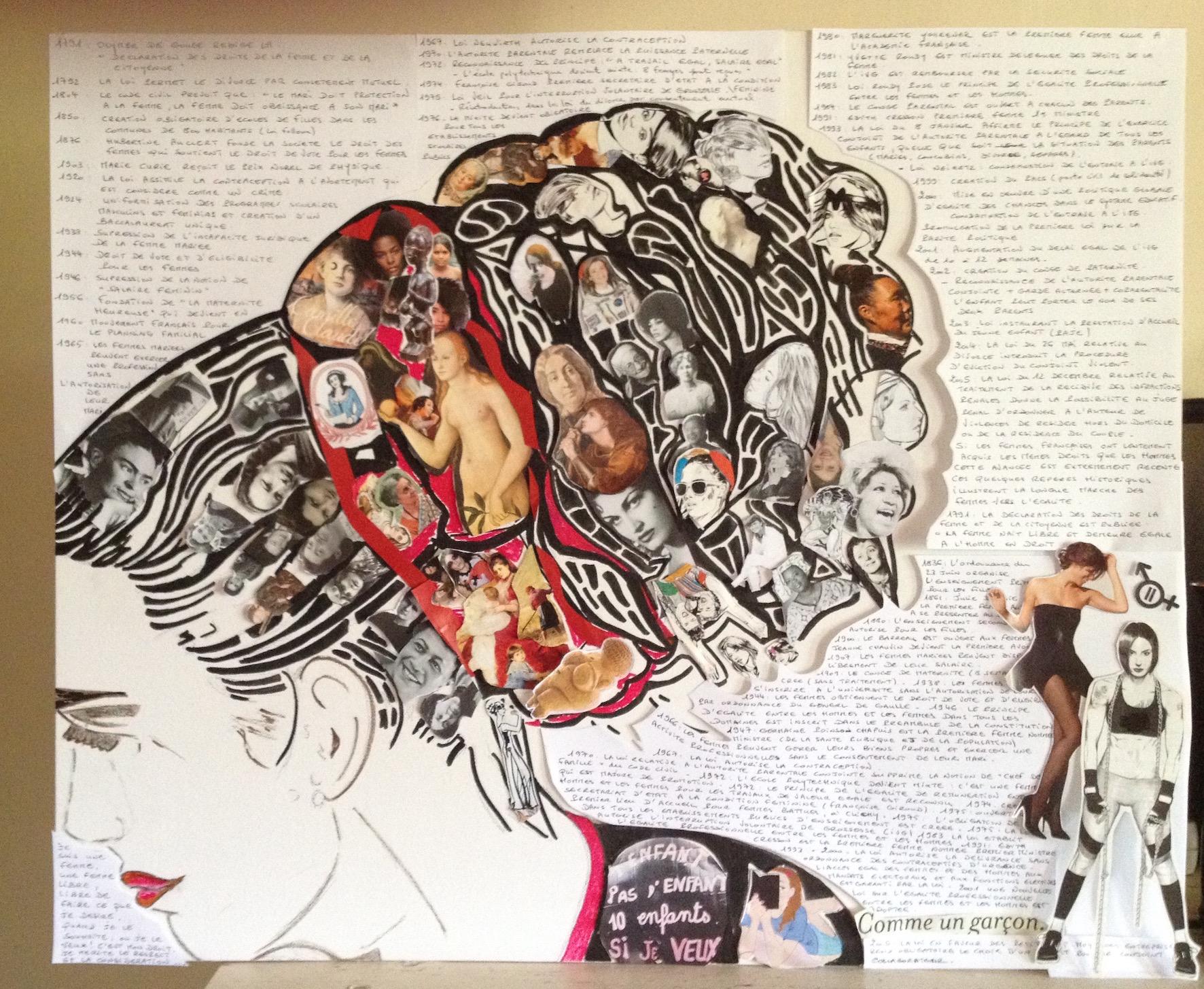 Mémoire de femmes - Collage, marqueur - 80x60 - en cours de réalisation
