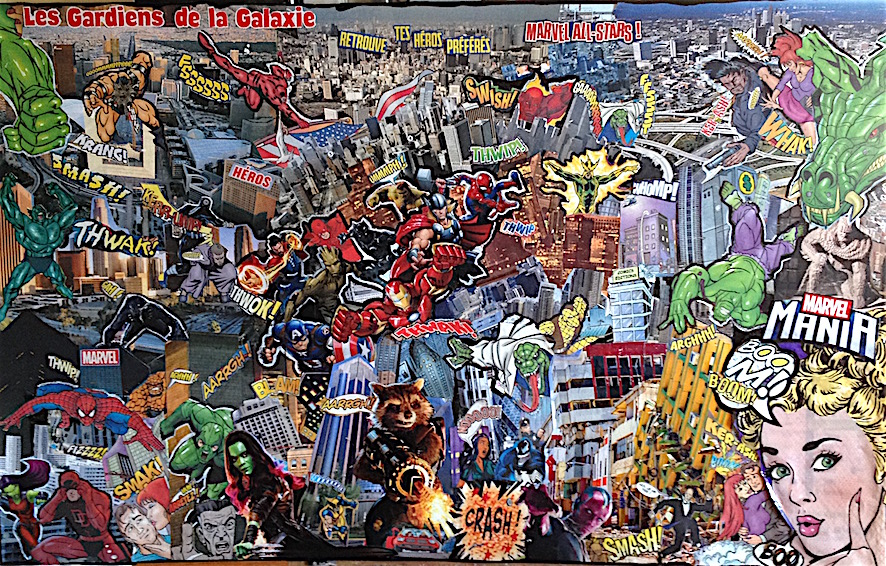 Les gardiens de la galaxie - collage sur calendrier, marqueur - 60x37,5 - 280€