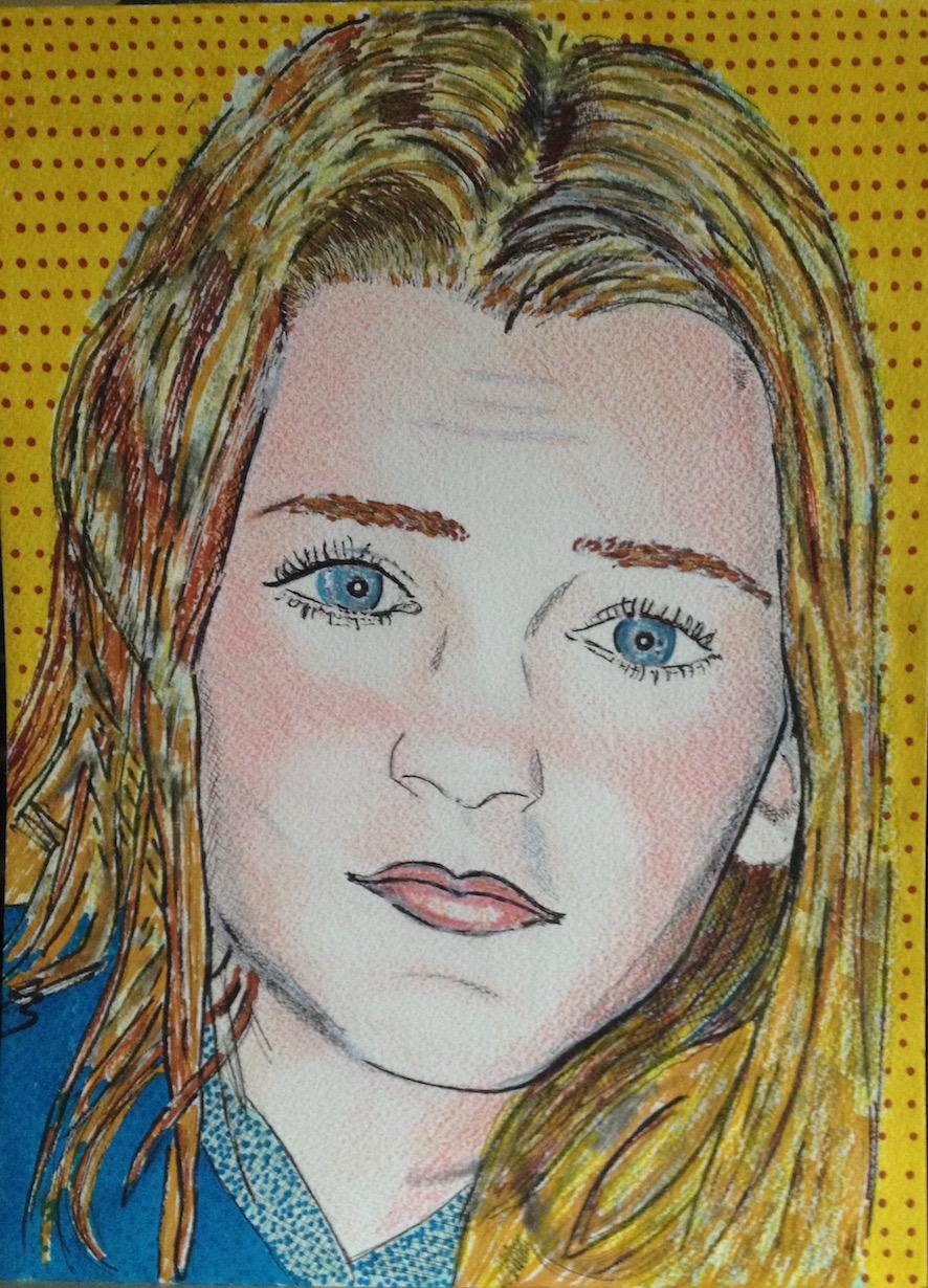 Loulou  - crayons couleurs,  feutres, pastel sur papier Arches -  21x37 - C.P.