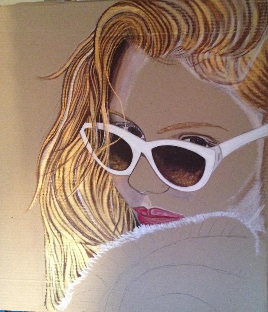 Julie - En cours de réalisation - 7Ox75 - Acrylique sur carton -