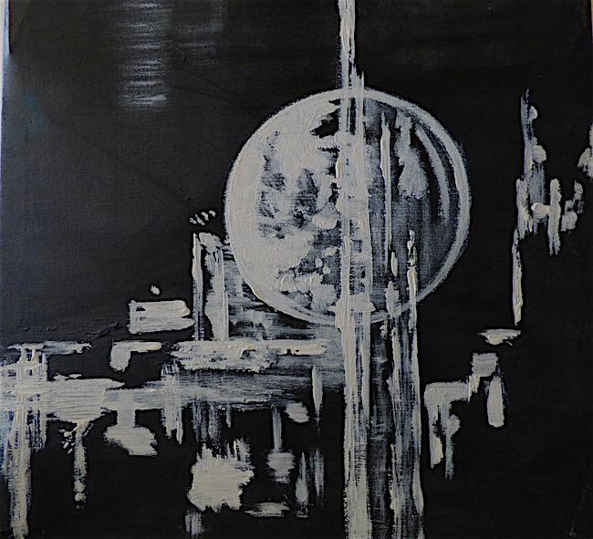 Lunaire - acrylique sur toile - 40x40