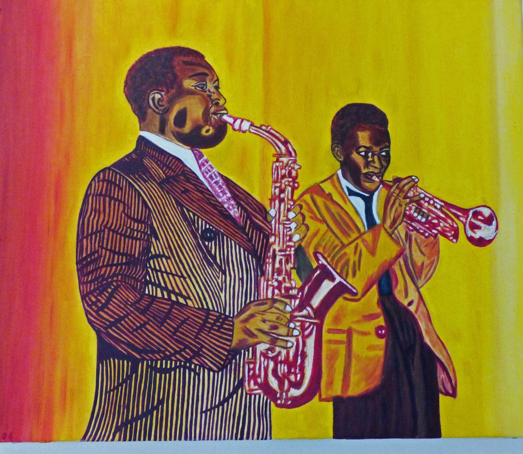 Miles & Parker - huile sur toile - 46x38 - 120€