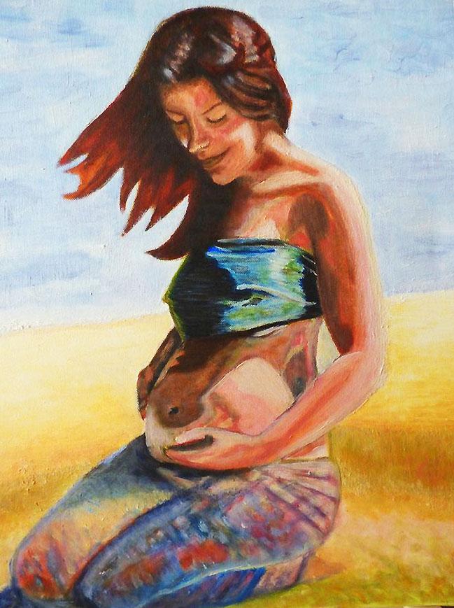 Myriam, huile sur toile, 46x38 - collection privée