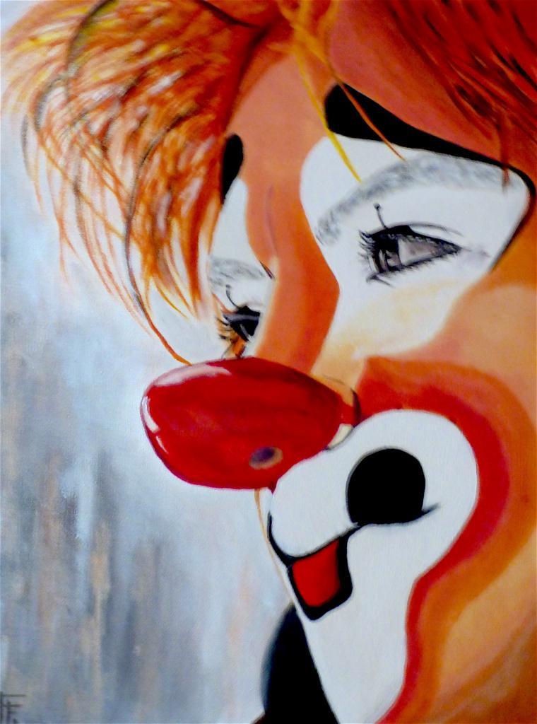 Nez rouge - huile et acrylique sur toile - 30x40 - 80 € - Vendu