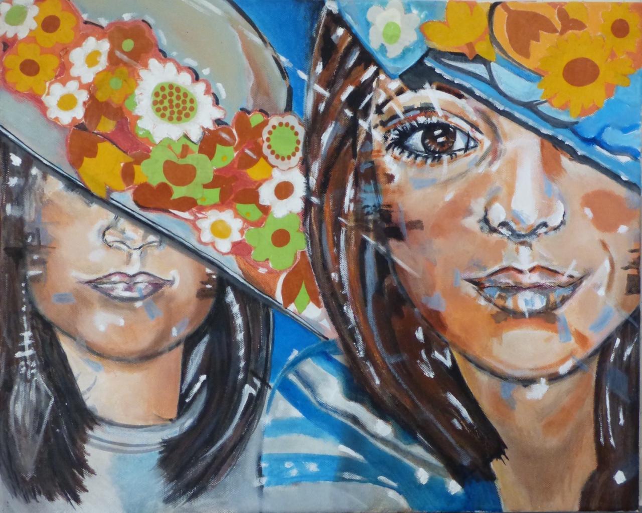Jeunes filles aux chapeaux - Acrylique sur toile et collage tissu - 40x50 - 180 €