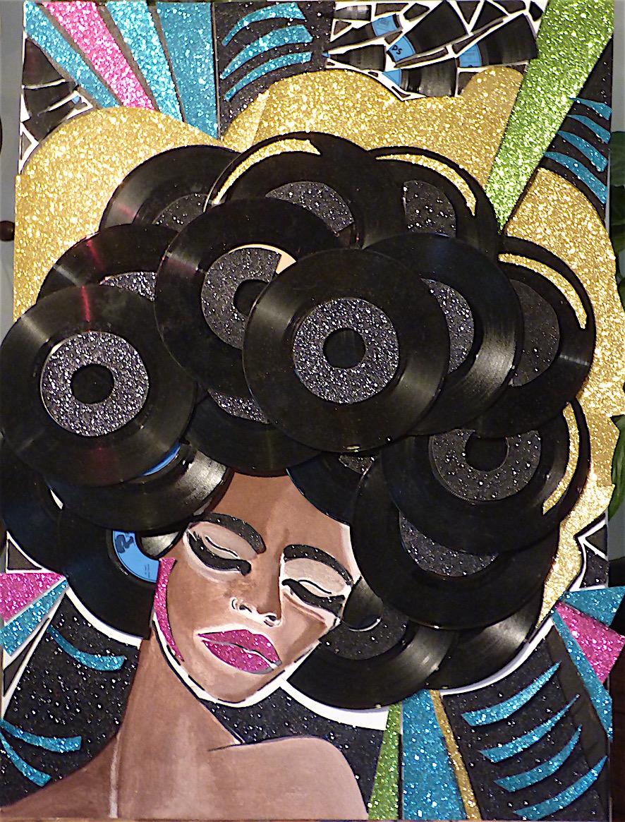 Donna II - collage sur toile - Vinyles, papier pailleté, acrylique,marqueur- 54x70 - 350€