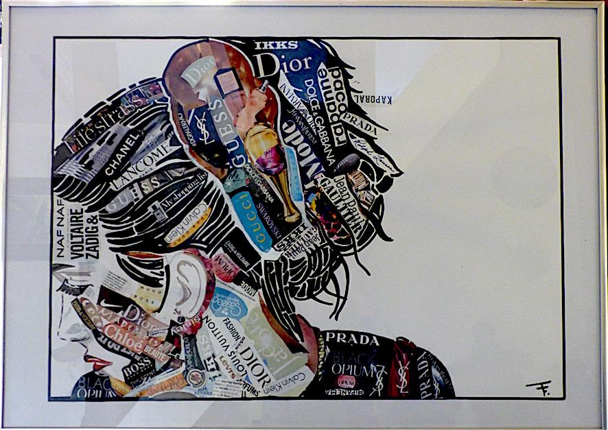 Amazing fashion show 2 - collage magazine - marqueur - posca - encadré - 50x70 - 340€