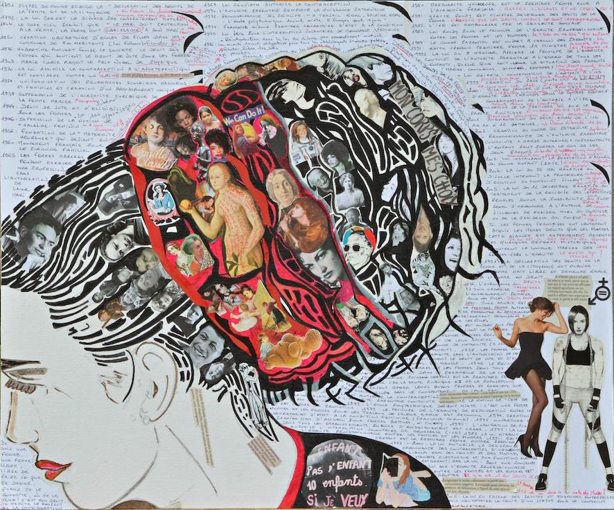Mémoire de femmes - collage, marqueur, promarker - encadré - 65x54 - 450€