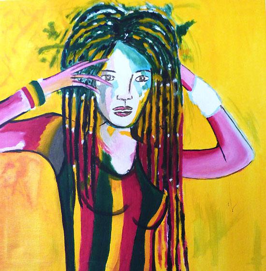 RASTA GIRL - acrylique sur toile - 40x40 - 120€
